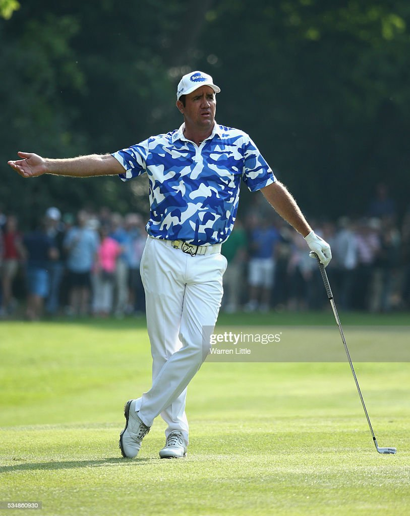 <a gi-track='captionPersonalityLinkClicked' href=/galleries/search?phrase=Scott+Hend&family=editorial&specificpeople=561652 ng-click='$event.stopPropagation()'>Scott Hend</a> of Australia reacts on the 17th hole during day three of the BMW PGA Championship at Wentworth on May 28, 2016 in Virginia Water, England.