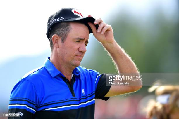 Scott Hend of Australia reacts on the 18th hole during Day Five of the Omega European Masters at CranssurSierre Golf Club on September 10 2017 in...