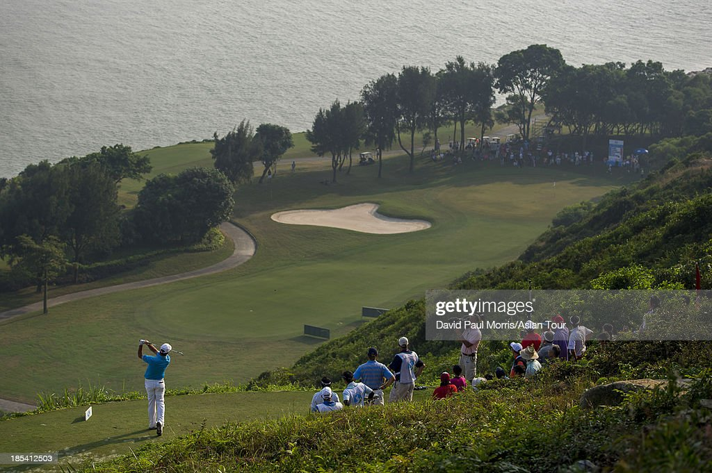 <a gi-track='captionPersonalityLinkClicked' href=/galleries/search?phrase=Scott+Hend&family=editorial&specificpeople=561652 ng-click='$event.stopPropagation()'>Scott Hend</a> of Australia tees off on the 17th hole during round four of the Venetian Macau Open on October 20, 2013 at the Macau Golf & Country Club in Macau. The Asian Tour tournament offers a record US$ 800,000 prize money which goes through October 20.