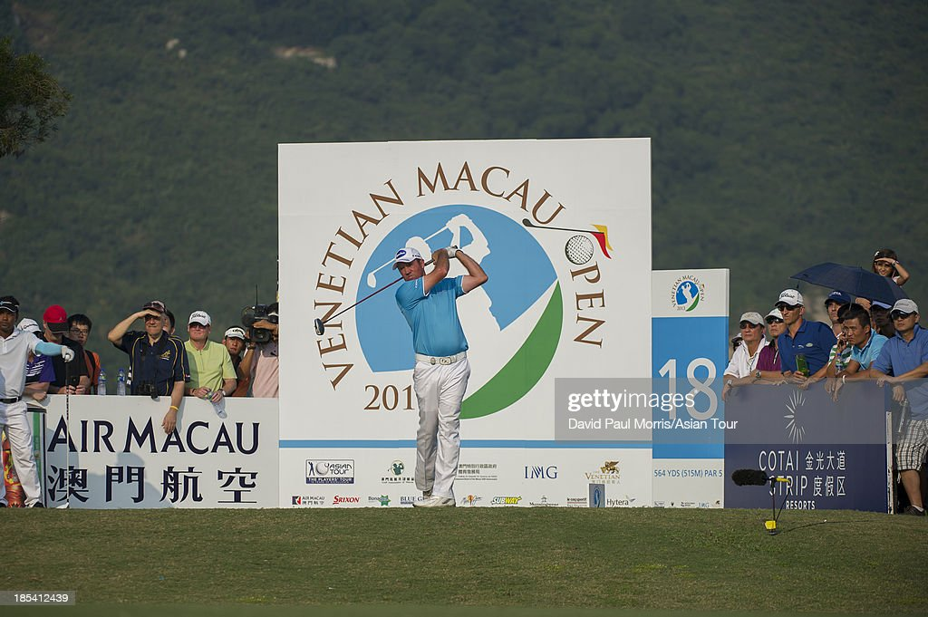 Scott Hend of Australia tees off on the 18th hole during round four of the Venetian Macau Open on October 20, 2013 at the Macau Golf & Country Club in Macau. The Asian Tour tournament offers a record US$ 800,000 prize money which goes through October 20.