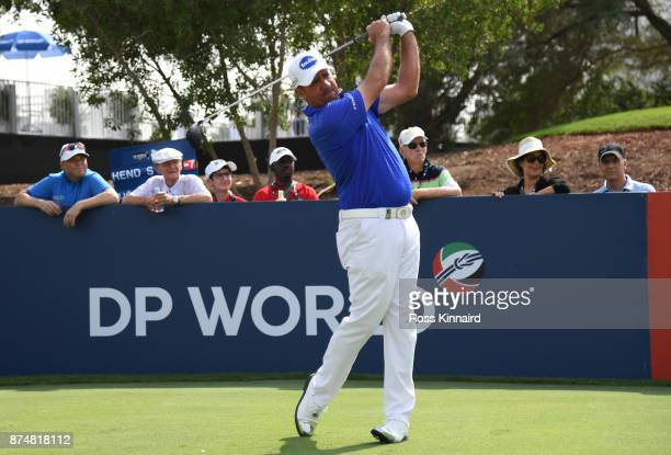 Scott Hend of Australia tees off on the 18th hole during the first round of the DP World Tour Championship at Jumeirah Golf Estates on November 16...