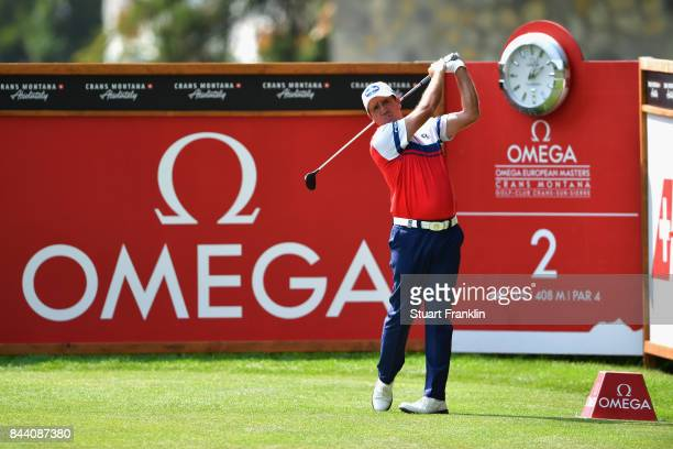 Scott Hend of Australia tees off on the 2nd during Day Two of the 2017 Omega European Masters at CranssurSierre Golf Club on September 8 2017 in...