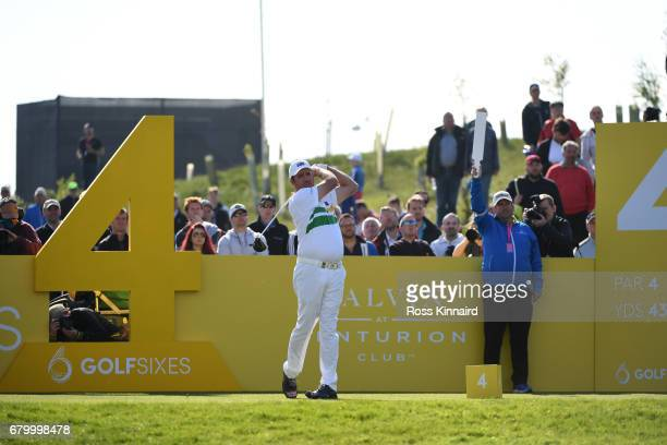 Scott Hend of Australia tees off on the 4th hole during the final match between Denmark and Australia during day two of GolfSixes at The Centurion...