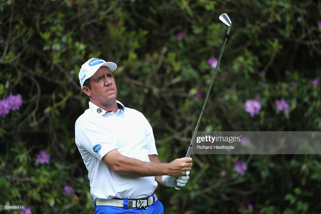 Scott Hend of Australia tees off on the 7th hole during day two of the BMW PGA Championship at Wentworth on May 27, 2016 in Virginia Water, England.