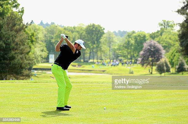 Scott Hend of Australia tees off on the 8th hole during day one of the BMW PGA Championship at Wentworth on May 26 2016 in Virginia Water England