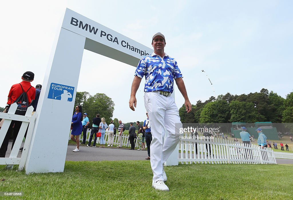 <a gi-track='captionPersonalityLinkClicked' href=/galleries/search?phrase=Scott+Hend&family=editorial&specificpeople=561652 ng-click='$event.stopPropagation()'>Scott Hend</a> of Australia walks to the 1st tee during day three of the BMW PGA Championship at Wentworth on May 28, 2016 in Virginia Water, England.