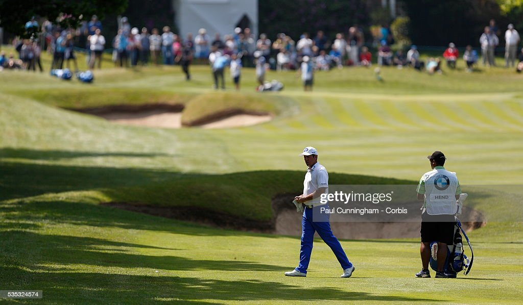 <a gi-track='captionPersonalityLinkClicked' href=/galleries/search?phrase=Scott+Hend&family=editorial&specificpeople=561652 ng-click='$event.stopPropagation()'>Scott Hend</a> surveys his approach shot on the 3rd fairway during day two of the BMW PGA Championship at Wentworth on May 27, 2016 in Virginia Water, England.