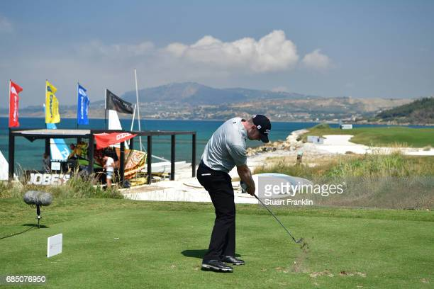 Scott Henry of Scotland hits his tee shot of the 15th hole during the second round of The Rocco Forte Open at The Verdura Golf and Spa Resort on May...