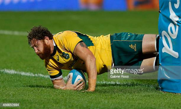 Scott Higginbotham of Australia scores a try during a match between Argentina Los Pumas and Australia Wallabies as part of The Rugby Championship...