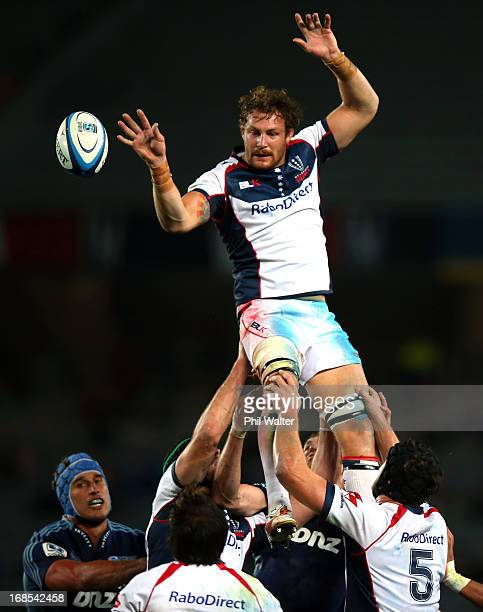 Scott Higginbotham of the Rebels clears the ball in the lineout during the round 13 Super Rugby match between the Blues and the Rebels at Eden Park...