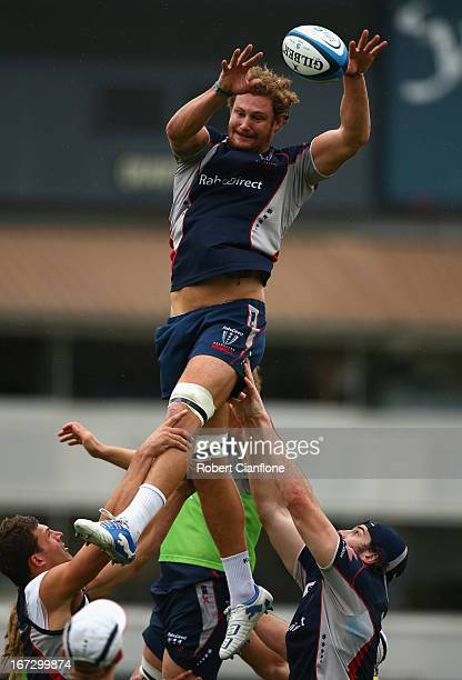 Scott Higginbotham of the Rebels gets to the ball during a Melbourne Rebels Super Rugby training session at Visy Park on April 24 2013 in Melbourne...