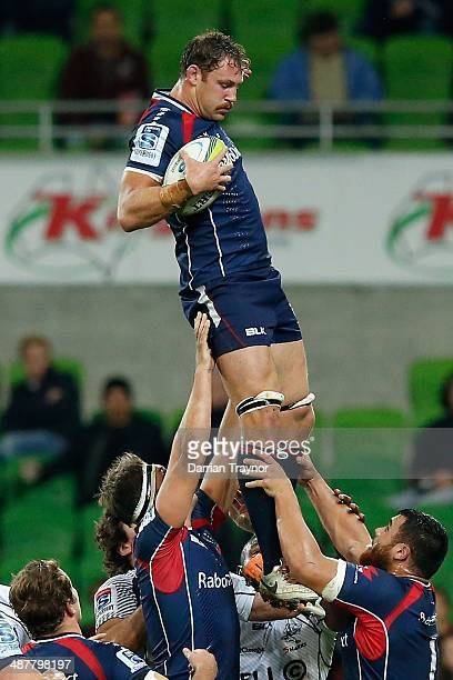 Scott Higginbotham of the Rebels takes the ball from a line out during the round 12 Super Rugby match between the Rebels and the Sharks at AAMI Park...