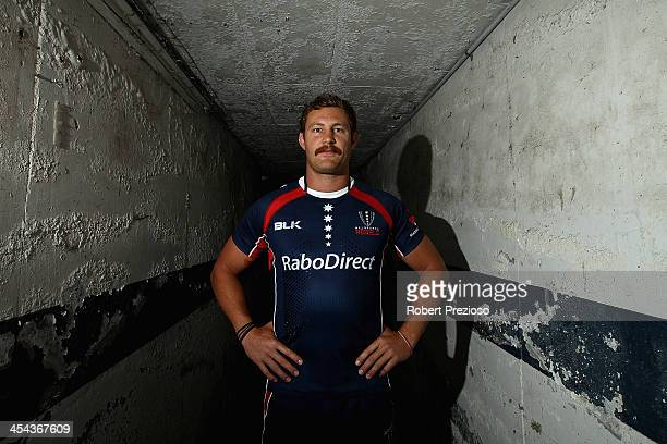 Scott Higginbotham poses for photos after being announced as club captain during a Melbourne Rebels Super Rugby press conference at Visy Park on...