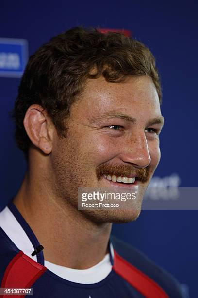 Scott Higginbotham speaks to media after being announced as club captain during a Melbourne Rebels Super Rugby press conference at Visy Park on...