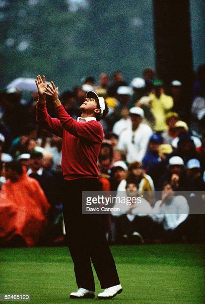Scott Hoch of USA misses a key putt on the 10th hole during the play off after the final round of the Masters held at The Augusta National Golf Club...