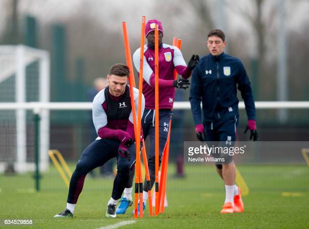 Scott Hogan of Aston Villa during a training session at the club's training ground at Bodymoor Heath on February 10 2017 in Birmingham England