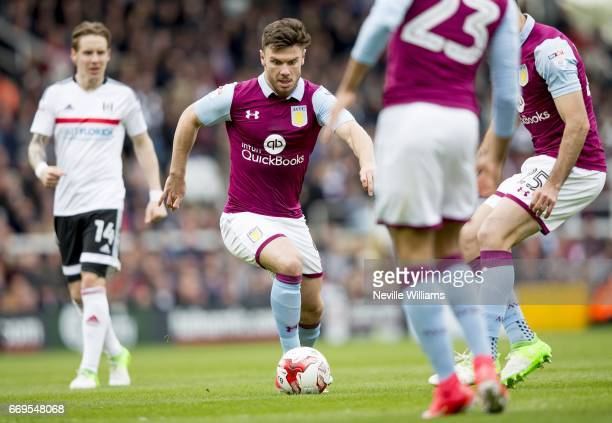 Scott Hogan of Aston Villa during the Sky Bet Championship match between Fulham and Aston Villa at Craven Cottage on April 17 2017 in London England