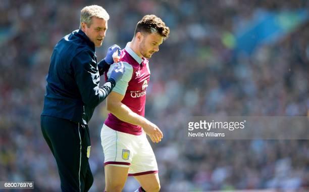 Scott Hogan of Aston Villa during the Sky Bet Championship match between Aston Villa and Brighton Hove Albion at Villa Park on May 07 2017 in...
