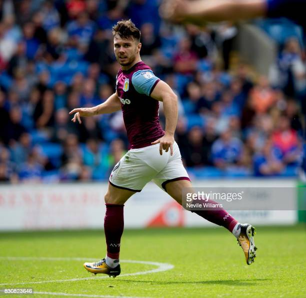 Scott Hogan of Aston Villa during the Sky Bet Championship match between Cardiff City and Aston Villa at the Cardiff City Stadium on August 12 2017...