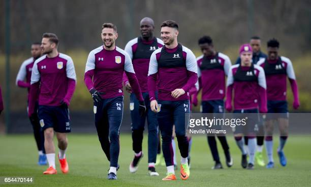 Scott Hogan of Aston Villa in action during a training session at the club's training ground at Bodymoor Heath on March 17 2017 in Birmingham England