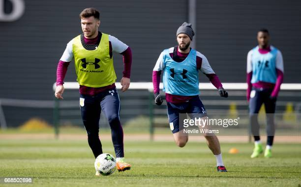 Scott Hogan of Aston Villa in action during a training session at the club's training ground at Bodymoor Heath on April 14 2017 in Birmingham England