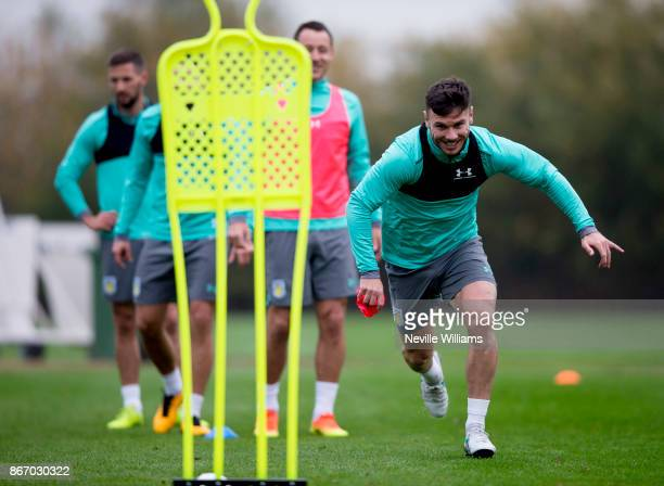Scott Hogan of Aston Villa in action during a training session at the club's training ground at Bodymoor Heath on October 26 2017 in Birmingham...
