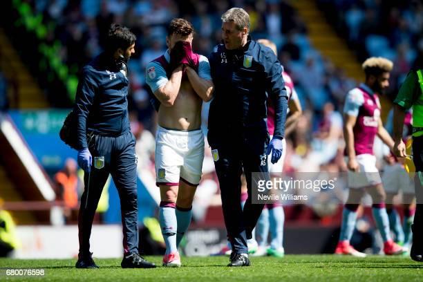 Scott Hogan of Aston Villa is injured during the Sky Bet Championship match between Aston Villa and Brighton Hove Albion at Villa Park on May 07 2017...