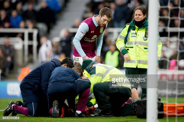 Scott Hogan of Aston Villa is stretchered off the pitch during the Sky Bet Championship match between Newcastle United and Aston Villa at St James'...
