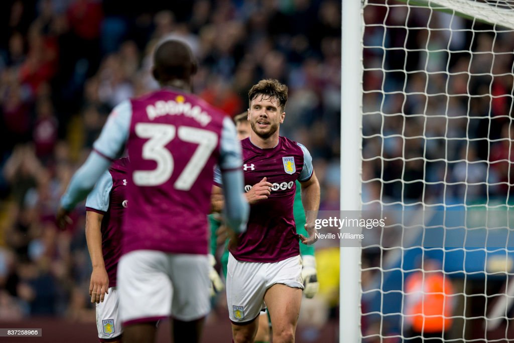 Scott Hogan of Aston Villa scores for Aston Villa during the Carabao Cup Second Round match between Aston Villa and Wigan Athletic at the Villa Park on August 22, 2017 in Birmingham, England.