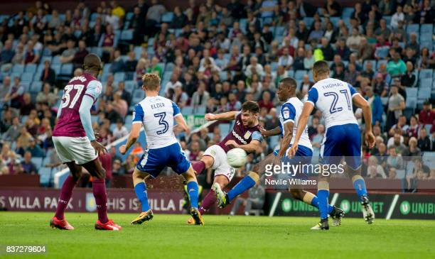 Scott Hogan of Aston Villa scores his second goal for Aston Villa during the Carabao Cup Second Round match between Aston Villa and Wigan Athletic at...