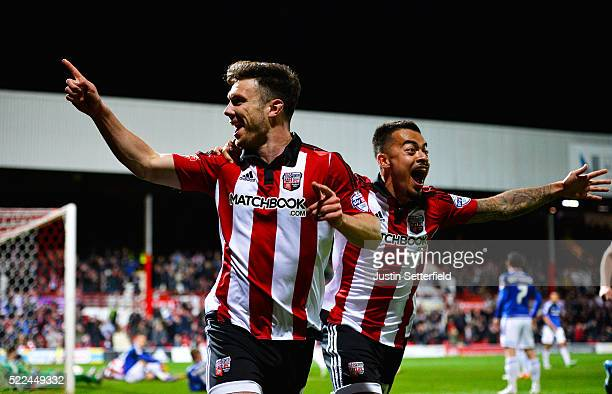 Scott Hogan of Brentford FC celebrates scoring the 1st goal during the Sky Bet Championship match between Brentford and Cardiff City on April 19 2016...