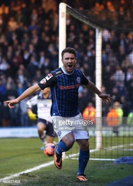 Scott Hogan of Rochdale AFC celebrates his goal during the Budweiser FA Cup third round match between Rochdale and Leeds United at Spotland Stadium...