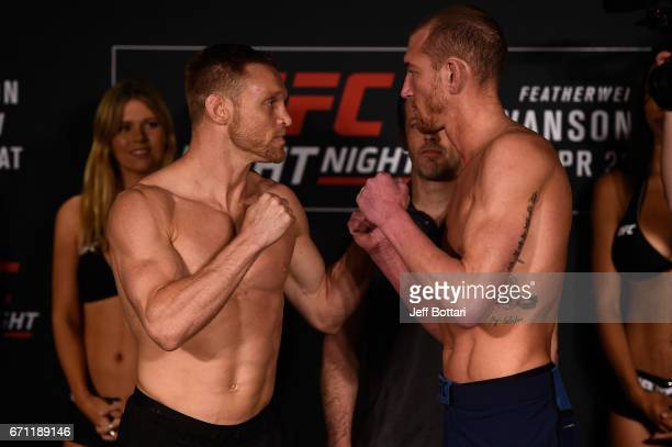 Scott Holtzman and Michael McBride face off during the UFC Fight Night weighin at the Sheraton Music City Hotel on April 21 2017 in Nashville...