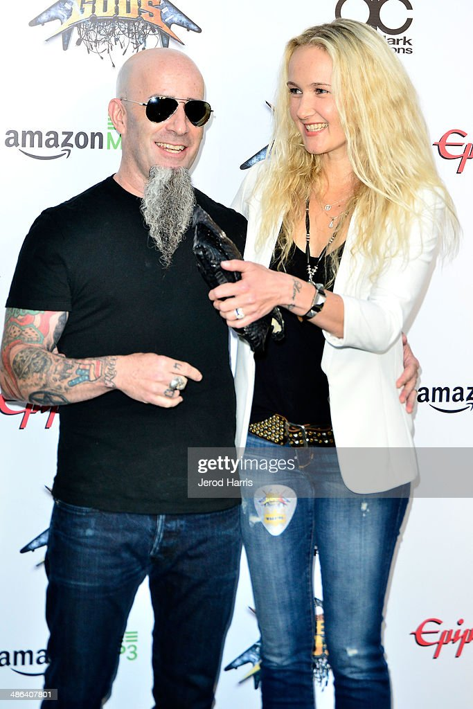 <a gi-track='captionPersonalityLinkClicked' href=/galleries/search?phrase=Scott+Ian&family=editorial&specificpeople=208132 ng-click='$event.stopPropagation()'>Scott Ian</a> and Pearl Aday arrive at the 2014 Revolver Golden Gods Awards at Club Nokia on April 23, 2014 in Los Angeles, California.