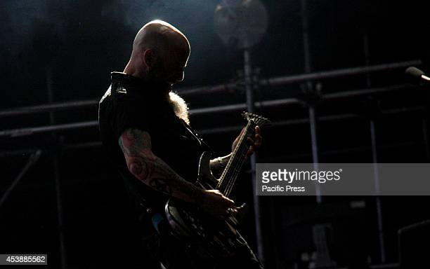 Scott Ian guitarist of American Anthrax Band during the 'Rock al Parque' Festival at Simon Bolivar Park in Bogota Colombia´s capital celebrated 20th...