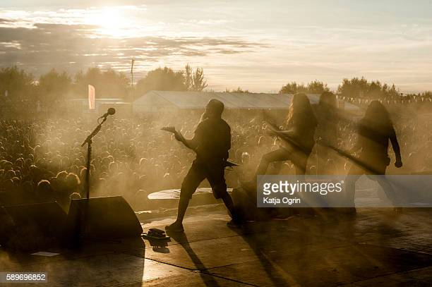 Scott Ian Joey Belladonna Frank Bello and Jonathan Donais of Anthrax performing live at Bloodstock Festival at Catton Park on August 14 2016 in...