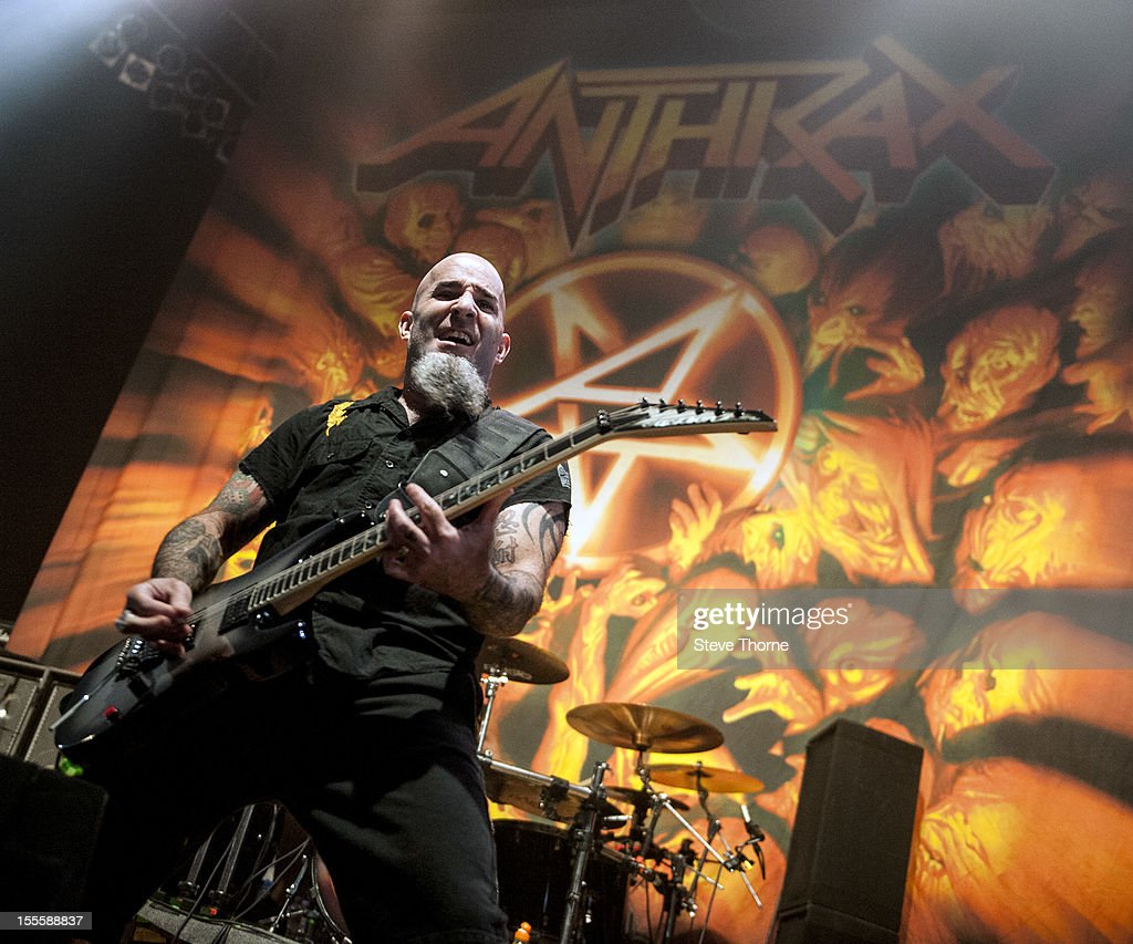 Scott Ian of Anthrax performs on stage at Wolverhampton Civic Hall on November 5, 2012 in Wolverhampton, United Kingdom.