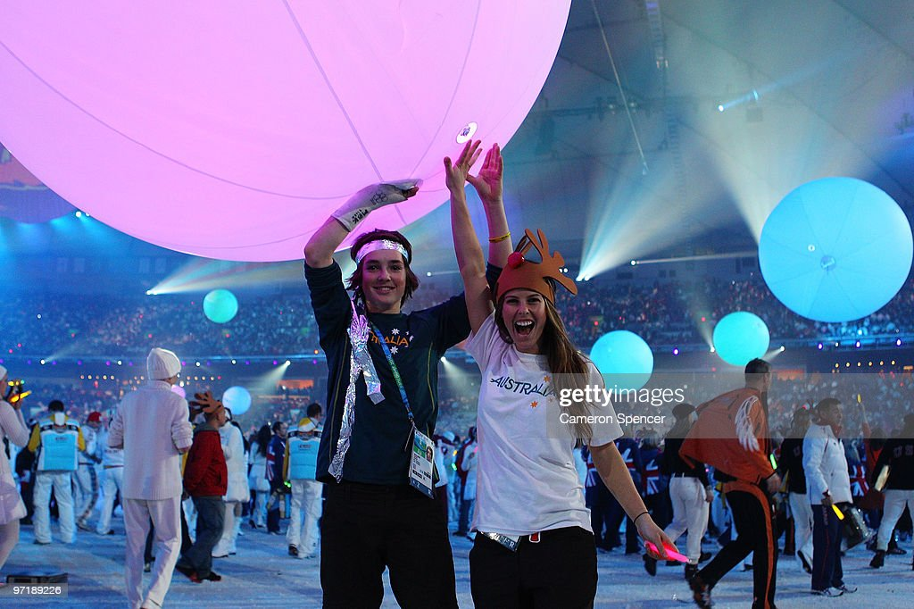 Scott James and Torah Bright of Australia attend the Closing Ceremony of the Vancouver 2010 Winter Olympics at BC Place on February 28, 2010 in Vancouver, Canada.