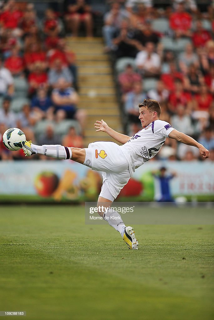 Scott Jamieson of Perth clears the ball during the round 16 A-League match between Adelaide United and the Perth Glory at Hindmarsh Stadium on January 11, 2013 in Adelaide, Australia.