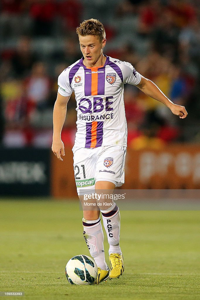 Scott Jamieson of Perth runs with the ball during the round 16 A-League match between Adelaide United and the Perth Glory at Hindmarsh Stadium on January 11, 2013 in Adelaide, Australia.