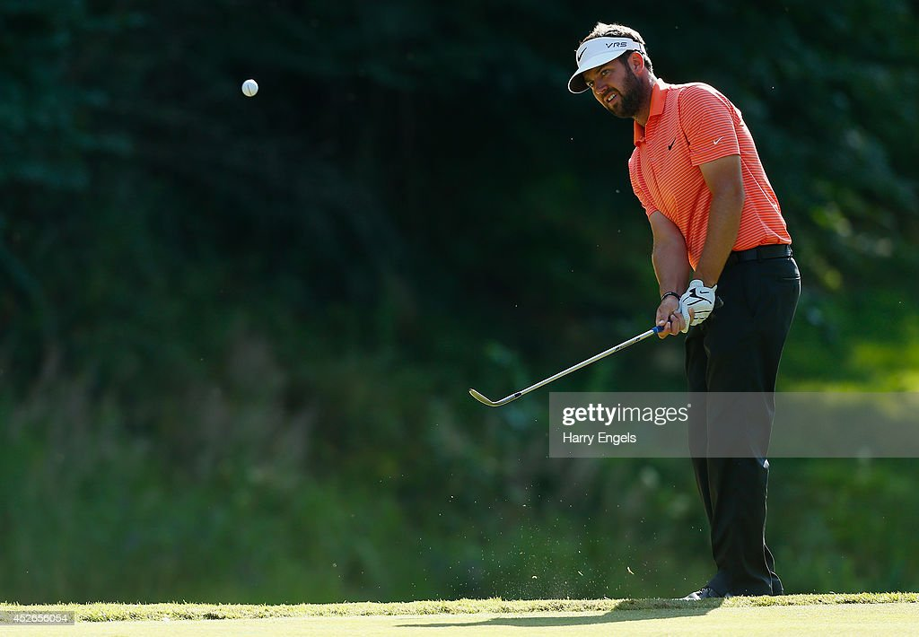 Scott Jamieson of Scotland chips onto the green at the eleventh on day two of the M2M Russian Open at Tseleevo Golf & Polo Club on July 25, 2014 in Moscow, Russia.