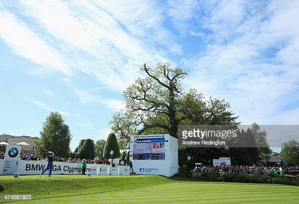 Scott Jamieson of Scotland hits his tee shot on the 1st hole during day 4 of the BMW PGA Championship at Wentworth on May 24 2015 in Virginia Water...