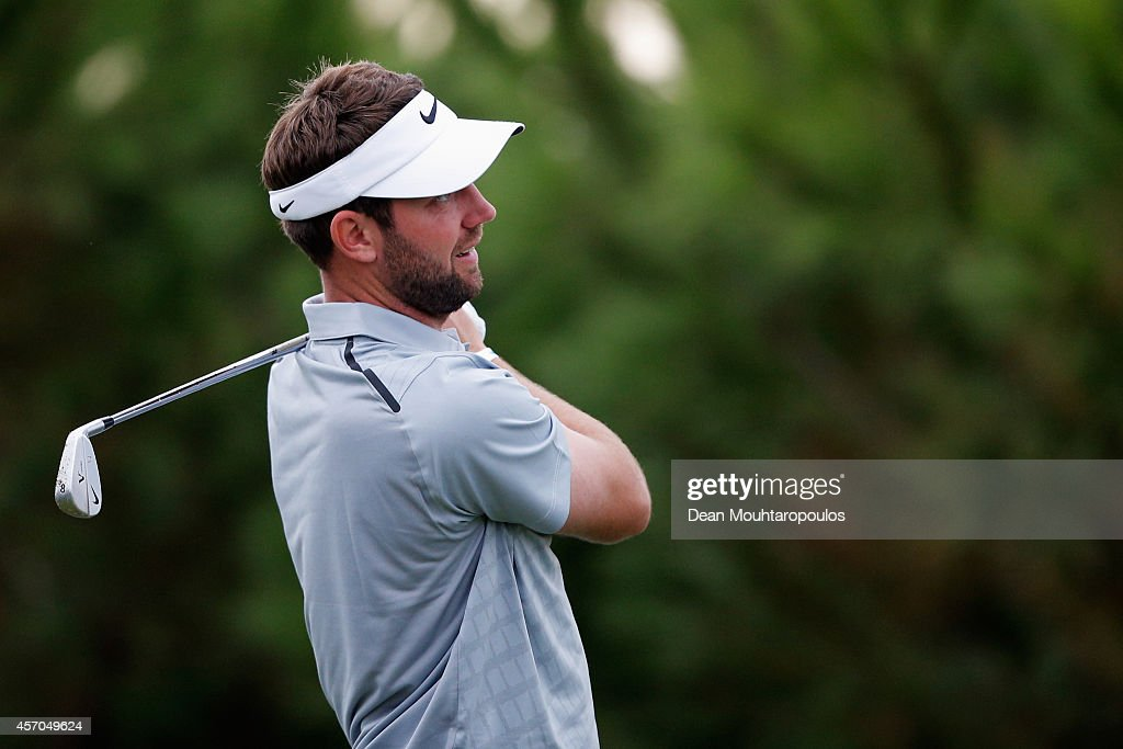 Scott Jamieson of Scotland hits his tee shot on the 8th hole during Day 3 of the Portugal Masters held at the Oceanico Victoria Golf Course on...