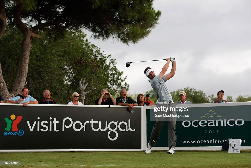 Scott Jamieson of Scotland hits his tee shot on the 9th hole during Day 3 of the Portugal Masters held at the Oceanico Victoria Golf Course on...