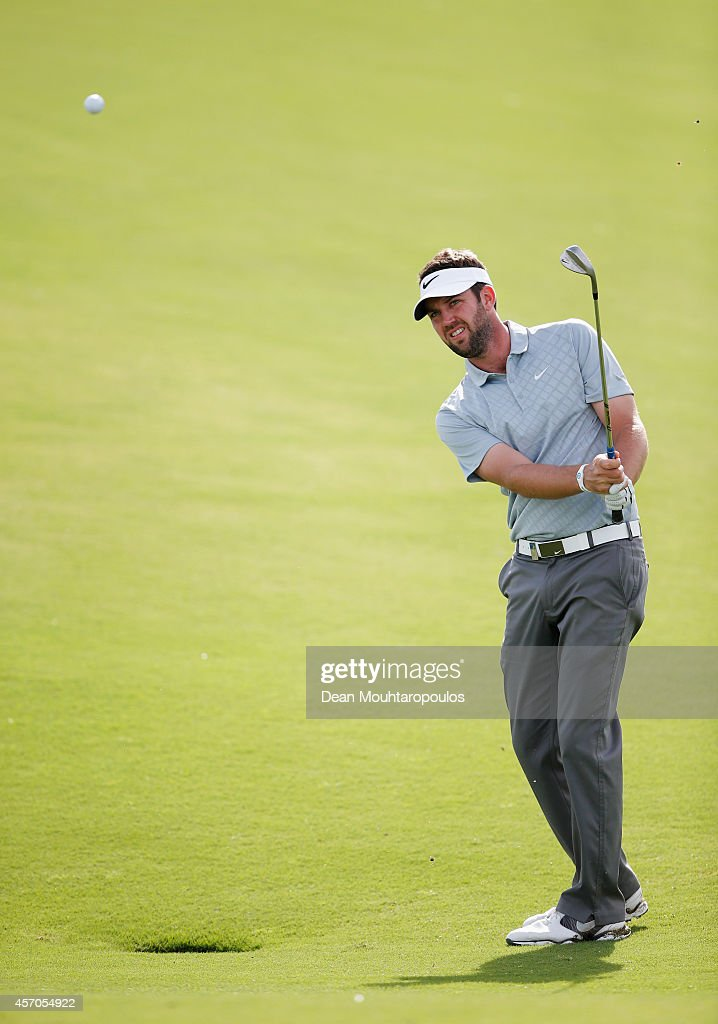 Scott Jamieson of Scotland hits his third shot on the 17th hole during Day 3 of the Portugal Masters held at the Oceanico Victoria Golf Course on...