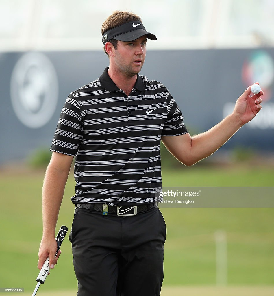 Scott Jamieson of Scotland in action during the first round of the DP World Tour Championship on the Earth Course at Jumeirah Golf Estates on November 22, 2012 in Dubai, United Arab Emirates.
