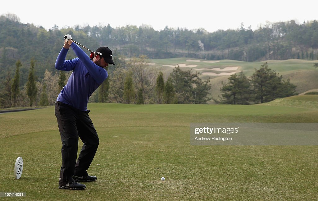 Scott Jamieson of Scotland in action during the first round of the Ballantine's Championship at Blackstone Golf Club on April 25, 2013 in Icheon, South Korea.