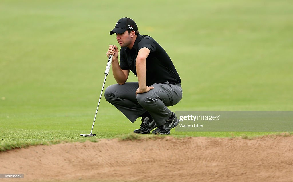 Scott Jamieson of Scotland lines up a putt during the first round of the Volvo Golf Champions at Durban Country Club on January 10, 2013 in Durban, South Africa.