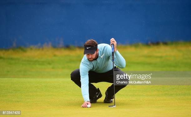 Scott Jamieson of Scotland lines up a putt on the 18th green during the Dubai Duty Free Irish Open hosted by the Rory Foundation at Portstewart Golf...