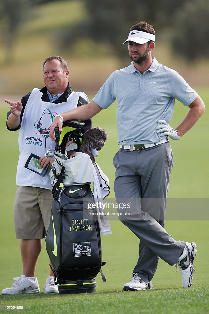 Scott Jamieson of Scotland looks on before he hits his second shot on the 17th hole during Day 3 of the Portugal Masters held at the Oceanico...